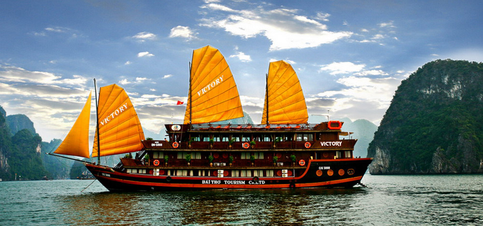Halong by traditional junk boat