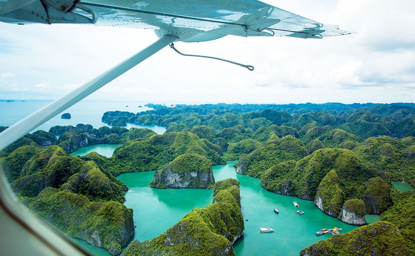 Halong bay scenic view from Helicopter
